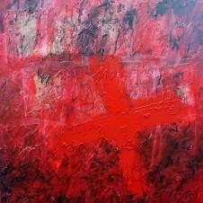 """Dorothea Fleiss - """"Il diario degli asini sotto la luna"""" - 50 x 50 cm. Tecnica mista, 2014."""