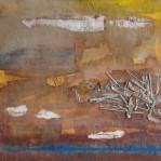 Marco Esteban Cavallaro - 50 x 50 cm., Tecnica mista: acrilico, carta, paglia e caffè su tela, 2014.