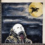 """Vera Lobascio - """"Lezione di volo"""", 50 x 50 cm., tecnica mista e inserti materici di pizzo e tulle antico su carta satinata."""
