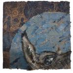 """Pierangela Orecchia - """"Cirillo racconta alla Luna"""", 50 x 50, tecnica mista su cartone, 2014."""